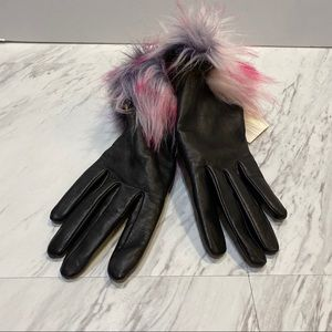 NWT UGG Black Furry Cuff Gloves